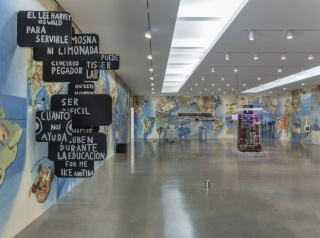 """Installation view of """"Primordial saber tararear..."""" curated by Abraham Cruzvillegas and Gabriel Kuri, on the occasion of Pacific Standard Time: LA/LA Regen Projects, Los Angeles"""