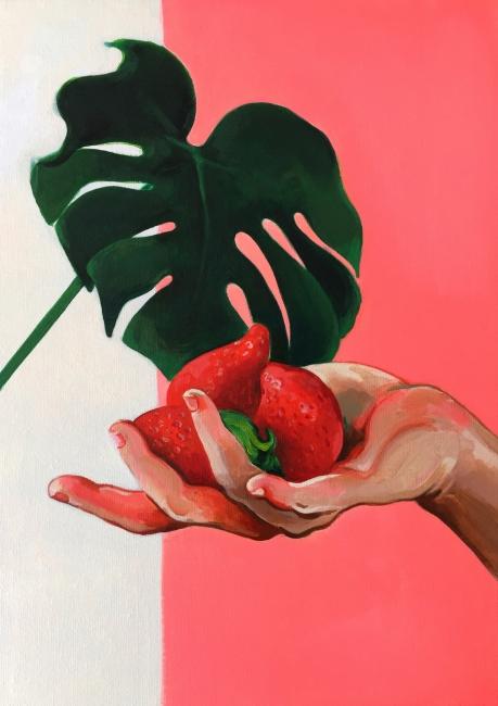 Mai Blanco. Mujer flor – Cortesía de MISCELANEA | Ir al evento: 'Mujer flor'. Exposición de Pintura en miscelänea / Barcelona, España