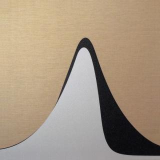 Curva de Hubbert (predicciones optimista y pesimista). Produccio?n de petroleo de 1920 a 2080.  Derivados del petro?leo sobre lino natural, 150 x 150 cm.