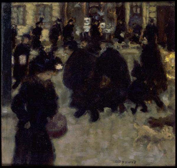 Pierre Bonnard, Gente en la calle (Personnages dans la rue), ca. 1894. Óleo sobre papel fijado a tabla, 24x25 cm, Colección particular