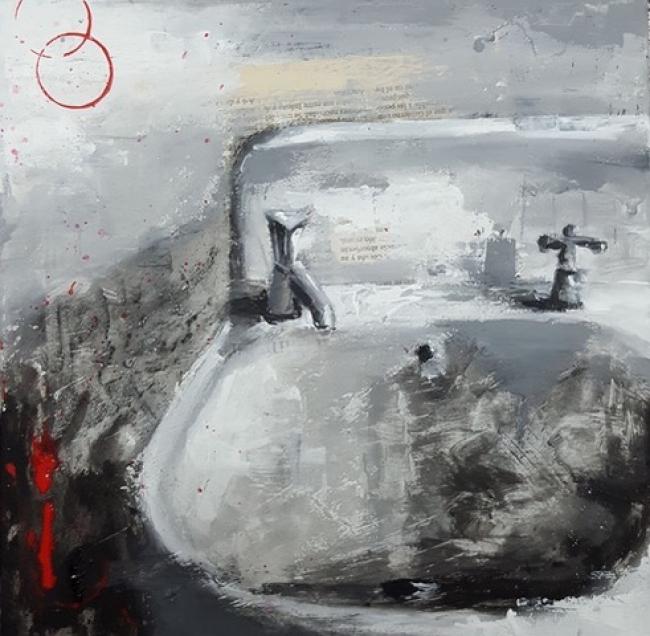 Óscar Cabana, lavabo – Cortesía de la galería Federica No Era Tonta | Ir al evento: 'Íntimo. Paisajes cotidianos'. Exposición de Pintura en Federica no era tonta / Santiago de Compostela, A Coruña, España