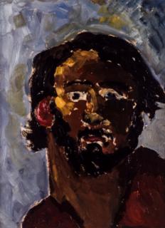 Autorretrato con barba, 1977. Óleo sobre cartón, 46 x 34 cm.