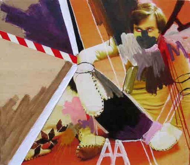 Skum, Intelectual punk. Técnica mixta sobre madera, 138x120 cm., 2016 - Cortesía de la Galería Contrast   Ir al evento: 'Vicio, estropicio y desperdicio'. Exposición de Arte urbano, Pintura en Contrast / Barcelona, España