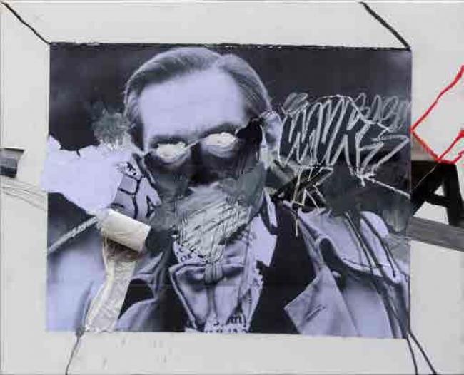 Skum, Mentalista. Técnica mixta sobre tela, 100 x 81 cm., 2014-2015 – Cortesía de la Galería Contrast   Ir al evento: 'Vicio, estropicio y desperdicio'. Exposición de Arte urbano, Pintura en Contrast / Barcelona, España