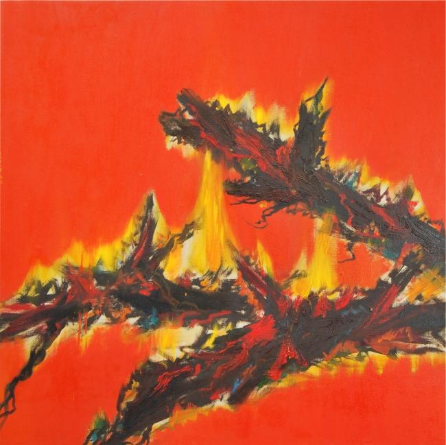 Oriol Sàbat, Troncs, 2010, oli, 150x150 – Cortesía de Alexandra Rybina