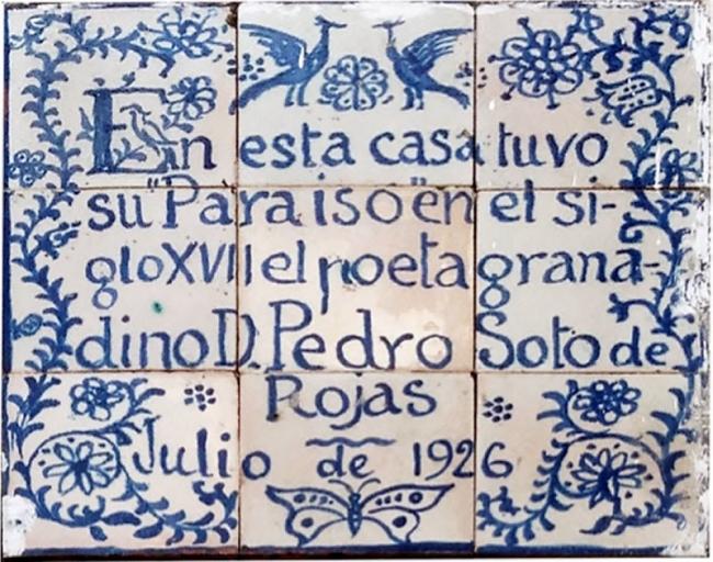 Azulejo en la fachada de la casa de los Mascarones. Hermenegildo Lanz, 1926 – Cortesía del Centro José Guerrero de Granada
