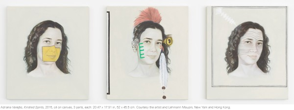 Kindred Spirits, 2015, oil on canvas, 3 parts, each: 20.47 x 17.91 in, 52 x 45.5 cm. Photo: Elisabeth Bernstein. Courtesy the artist and Lehmann Maupin, New York and Hong Kong