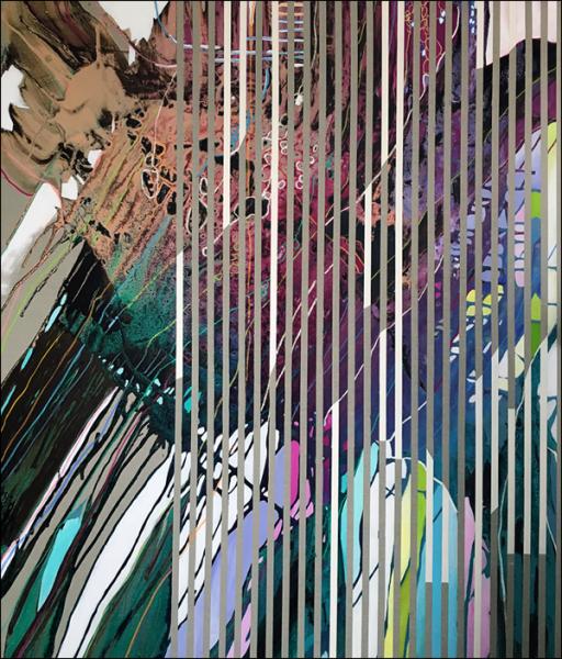 Joana Gomes, Desafogo, 2016. Técnica mista sobre tela, 190 x 160 cm.