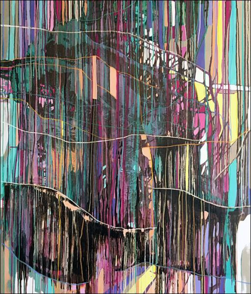 Joana Gomes, Walk The Line, 2016. Técnica mista sobre tela, 190 x 160 cm.