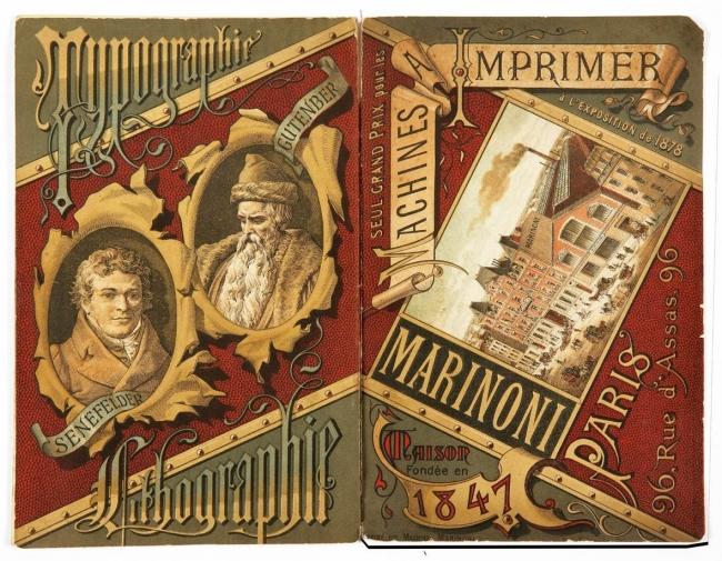 2.Cubiertas del catálogo de maquinaria para las artes gráficas de la firma Marinoni. Diseño característico de la corriente historicista generada por el movimiento Arts & Crafts creado por William Morris, donde se homenajea a los fundadores de la tipograf