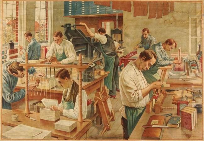 4.Las imágenes que proyectan los talleres de artes gráficas en todas sus diferentes labores siempre han sido muy sugestivas. Dibujantes, grabadores, pintores, escultores y diseñadores han tenido como modelo el universo generado por la galaxia Gutenberg.