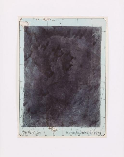 Obstrucción 1973  Tinta s/ mapa impreso   35 x 29,5 C/m