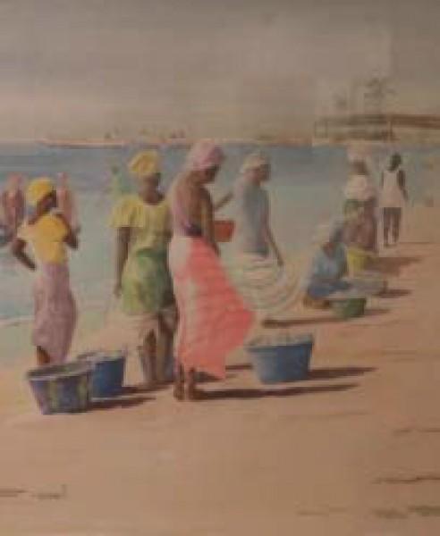 José Luis Fiol, Vendedoras de pescado en la playa (1º premio - acuarela)
