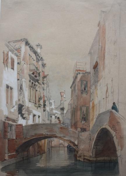 Eugenio Lucas Velázquez. Canal del paraíso. Venecia . 1868. Lápiz negro, acuarela y gouache sobre papel. Inv. 8885