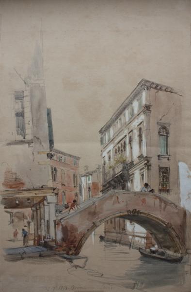 Eugenio Lucas Velázquez. Canal de Venecia. 27-7-1868. Lápiz negro, acuarela y gouache sobre papel, 460 x 308 mm. Inv. 14851-026