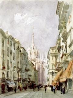 Eugenio Lucas Velázquez, El corso de San Francisco, Milán, 1868. Lápiz negro y acuarela sobre papel 415x313 mm. Inv. 8884