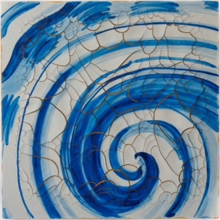 Adriana Varejão, Azulejão (voluta) [Azulejão (volute)], 2016, oil and plaster on canvas, 70 7/8 × 70 7/8 inches (180 × 180 cm) © Adriana Varejão. Photo by Vicente de Mello