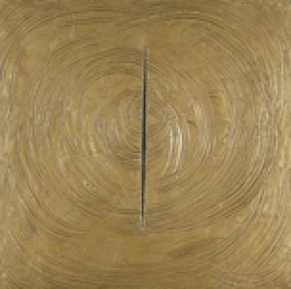 Lucio Fontana Venecia era toda de oro, 1961 Pintura alquídica sobre lienzo 149 x 149 cm Museo Thyssen-Bornemisza, Madrid © Fondazione Lucio Fontana a través de SIAE, VEGAP, Madrid