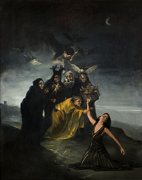 Inma Cuesta y Goya. A partir de Francisco de Goya. Las Brujas, hacia 1798. © Museo Lázaro Galdiano, Madrid. © Denise de la Rue. 2017