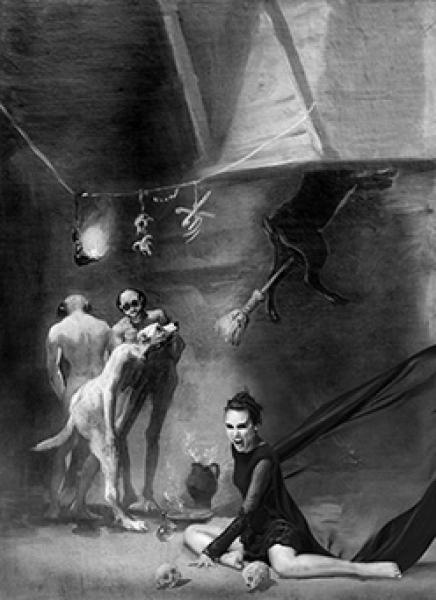 Verónica Echegui y Goya. A partir de Francisco de Goya. La cocina de los brujos, hacia 1798. Archivo Instituto de Patrimonio Cultural de España (MECD) Impresión Vutek sobre tul © Denise de la Rue. 2017