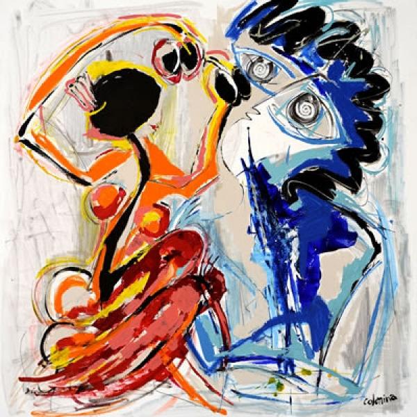 """Gitana y cantante"" Oleo sobre lienzo. 150 x 150 cm"