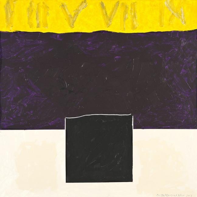 Alberto Corazón, Números romanos con cuadrado negro, 2017. MOM 27194. Foto M. Blanco – Cortesía de la Galería Marlborough | Ir al evento: 'Despojarse'. Exposición de Pintura en Marlborough / Madrid, España