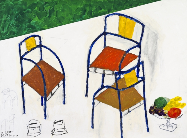 Alberto Corazón, Pieza de conversación 1, 2017. MOM 27188. Foto M. Blanco – Cortesía de la Galería Marlborough | Ir al evento: 'Despojarse'. Exposición de Pintura en Marlborough / Madrid, España