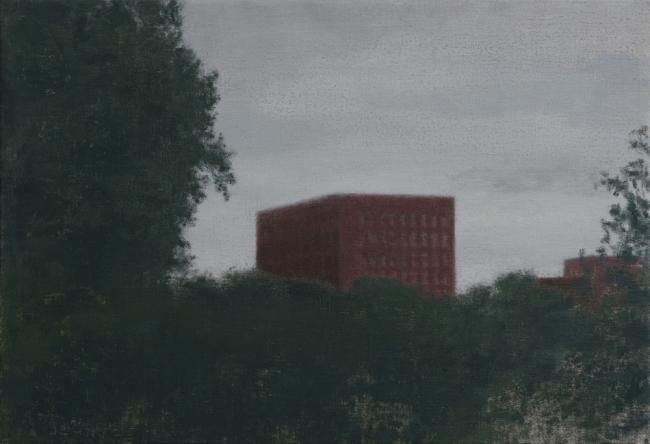 Miguel Galano. Metafísica sindical, 2017. Óleo sobre lienzo, 50x73 cm. – Cortesía de Utopia Parkway