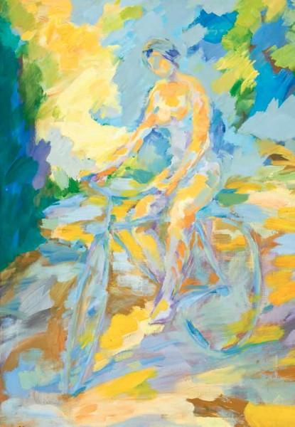 Eduardo Salavera, Elegía a la chica de la bicicleta, 1989, Acrílico sobre lienzo, 116 x 89 (fragmento)