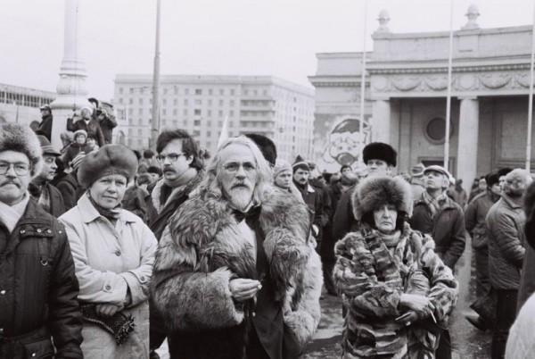 Moscú, 1990 ó 91. Manifestación junto al Parque Gorki. Fotografía © Ryszard Kapuscinski