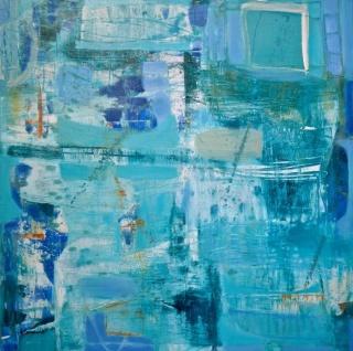 Astrid Sommer, Indicio, 2017, acrílico sobre lienzo, 100x100 cm. - Cortesía Stoa Gallery