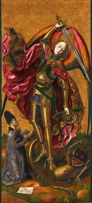 Bartolomé Bermejo, San Miguel triunfante sobre el demonio con Antoni Joan. Óleo y dorado sobre tabla de pino, 179,7 x 81,9 cm., 1468. Londres, The National Gallery — Cortesía del MNAC