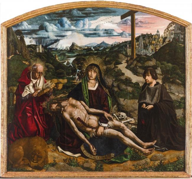 Bartolomé Bermejo, Piedad Desplà. Óleo sobre tabla de álamo o chopo, 175 x 189 cm., 1490. Barcelona, Catedral de Barcelona — Cortesía del MNAC