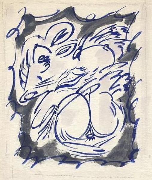 """André Masson \""""Fèminaire\"""" , acuarela, 25 x 16 cm"""