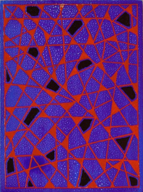 Alfredo Alcaín. Triangulitos rojos sobre azul, con negros, 2016 – Cortesía de Tiempos Modernos