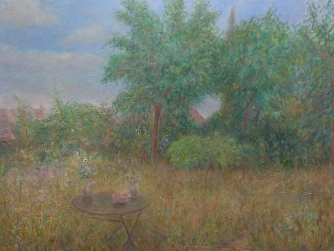 Ángeles Santos. Paisaje. Óleo sobre lienzo. Imagen cortesía Galería José Lorenzo