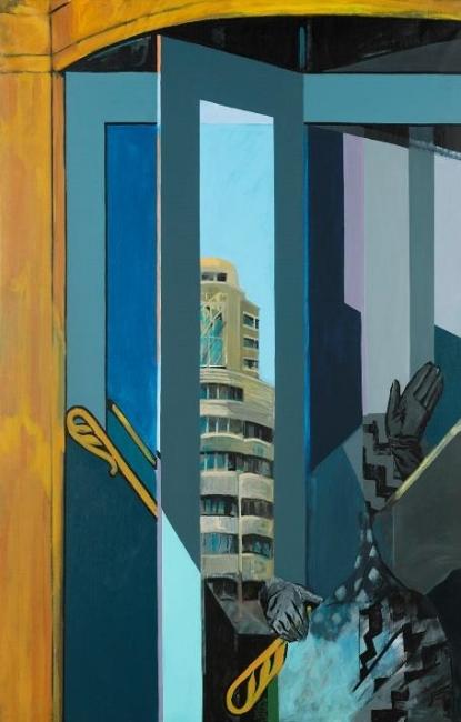 Mª Luisa Sanz. Puertas giratorias grises. 1986 – Cortesía del Museo Municipal de Arte Contemporáneo de Madrid (MAC)