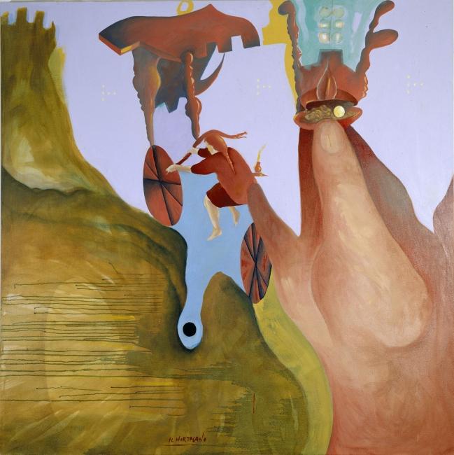 El Hortelano, Por donde pasaba el aire perfumaba NY. Óleo sobre lienzo. 152 x 152 cm. 1988 | Ir al evento: 'El Hortelano. Nueva York, 1987-1989 & Serie Humano'. Exposición de Pintura en My Name's Lolita Art / Madrid, España