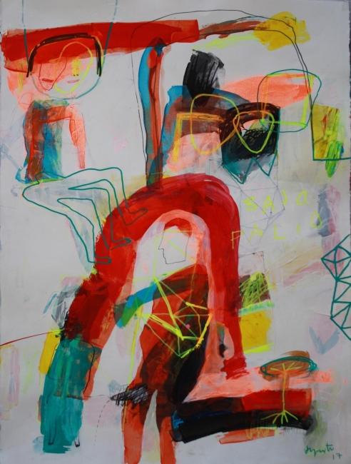 BAJO PALIO. 76x58. tec. mixta-papel 2017 | Ir al evento: 'Multiplex'. Exposición de Pintura en Off Frame Gallery / Cracow, Malopolskie, Polonia