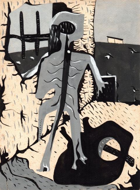 Juan Batlle Planas, Radiografía paranoica, 1939. Témpera sobre papel, 23x16 cm. Colección Silvia Batlle. Crédito fotográfico: © Juan Molina y Vedia – Cortesía de la Fundación Juan March