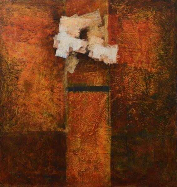 Nuno Santiago, Acrílico e papel chinês s/ tela, 148x140 cm.