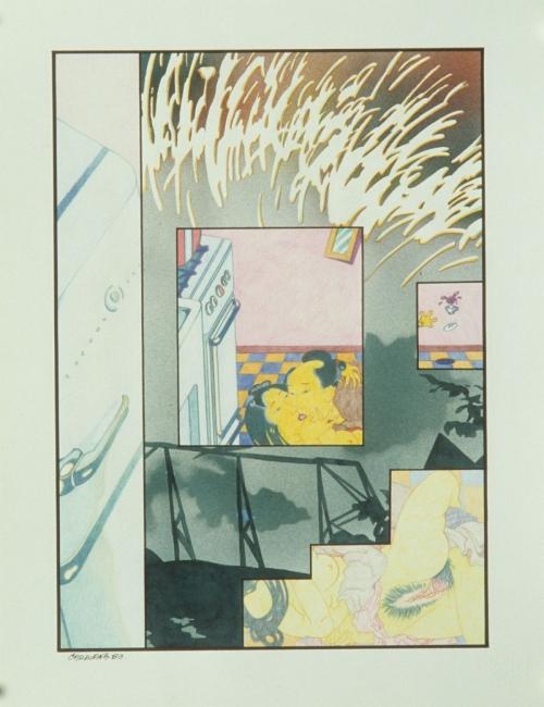 S/T, técnica mixta sobre cartulina, 43 x 33 cm. Jorge Carruana Bances, 1983 – Cortesía de Twin Gallery