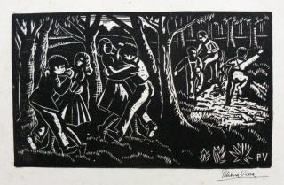 Bailando (c.1950) Xilografía  14 x 24 cm  Colección MNAV - Nº de Inventario: 2969