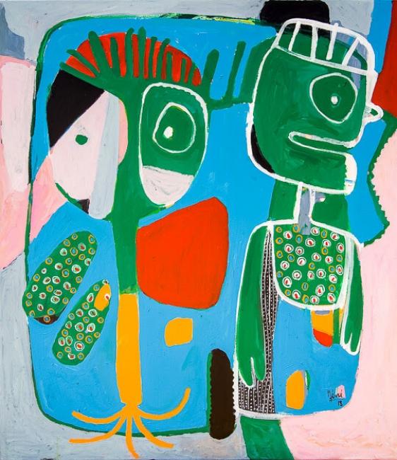 Méné | Bleu Passion | 2018 | 100cm Alt x 88cm A | Acrílico y pigmentos naturales sobre tela – Cortesía de Out of Africa Gallery