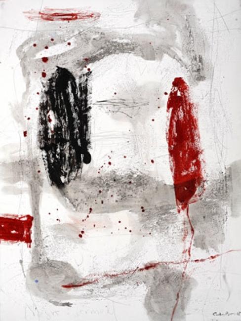 Carles Bros, Negre i vermell. Mixta sobre lienzo. 130x97 cm. – Cortesía de OMNIUM ARS
