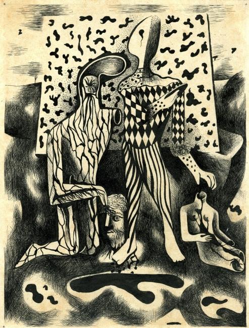 Juan Batlle Planas, Composición, 1935. Dibujo a tinta sobre papel, 25x19 cm. Colección Giselda Batlle. Crédito fotográfico © Rolando Schere Arq. – Cortesía de la Fundación Juan March