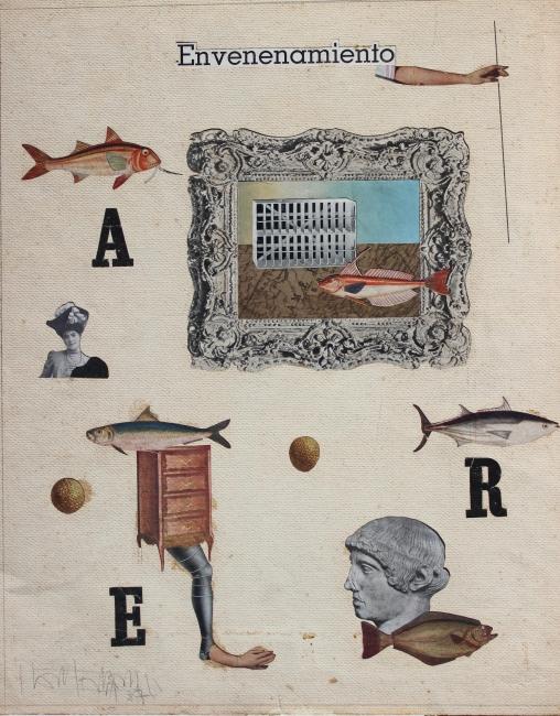 Juan Batlle Planas, Envenenamiento, 1937. Collage sobre papel, 37x29,5 cm. Colección Giselda Batlle. Crédito fotográfico: © Rolando Schere Arq. – Cortesía de la Fundación Juan March