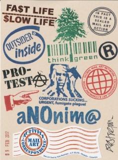 Gráfica Digital - Arte Correo de Tulio Restrepo. Impresión láser color de sellos de caucho y adhesivo sobre papel (2017)