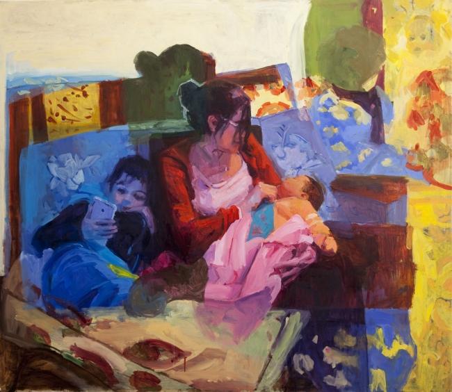 Paula Cecchi. Mamá pulpo óleo sobre tela, 130 x 150cm,  2017. Imagen cortesía Galeria Laura Haber | Ir al evento: 'Los otros ojos'. Exposición de Escultura, Pintura en Galería Laura Haber / Buenos Aires, Argentina