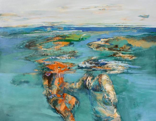 Marta Maldonado, El abrazo 1, 114x146 cm., mixta s. tela – Cortesía de la artista